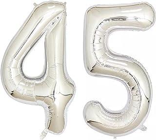 45 40inch Silver Foil 18 Helium Jumbo Digital Number Balloons, 18th Birthday Decoration for Girls or Boys, 18 Birthday Par...