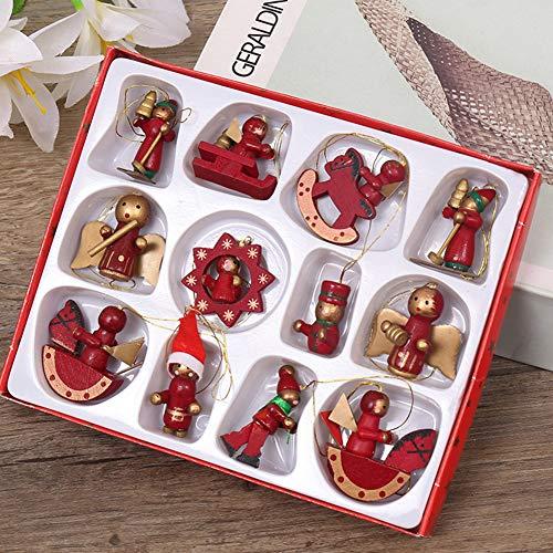 decoración de árbol de Navidad 12 Mini árbol de Navidad Decoraciones colgantes Mini figuras colgantes, pan de jengibre...