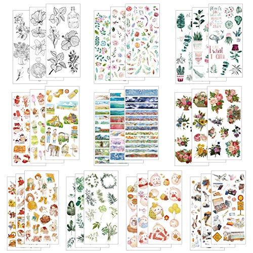 LAITER 30 arkuszy scrapbooking naklejki zielona roślina zwierzęta liście kwiaty dekoracyjne kreatywne naklejki zestaw do pamiętnika albumu laptopów telefon komórkowy pamiętnik DIY sztuka i rzemiosło tworzenie kart listów