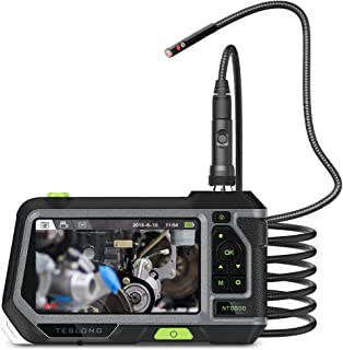 Teslong Dual Lens Borescope with Monitor, Newest 5inch HD LCD Screen Industrial Endoscope with 5.5mm Direct View Camera and Side View Camera, Waterproof Flexible Probe, LED Lights and Toolbox(3m)
