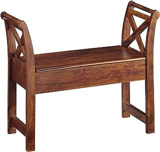 Ashley Furniture Signature Design - Abbonto Storage Accent Bench - Casual - Warm Brown Finish