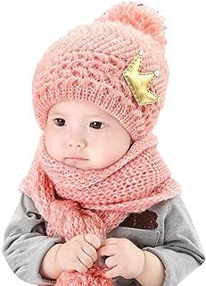 33a72966a2232 Amlaiworld pour 2-12 Mois bébé, Coiffe en Laine Chaude Capuche écharpe +  Casquettes