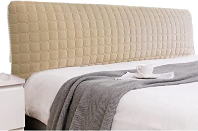 Bed Headboard Slipcover King Thicken Quilted Stretch Solid Color Dustproof Cover Protector Washable Furniture for Twin Full Queen (Color : Gold, Size : 150cm/59in)