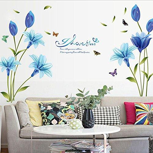 Tophappy Wall Stickers flores grandes lirio azul adhesivo de pared para salón dormitorio DIY extraíble impermeable adhesivo de pared familia arte mural Home Decor