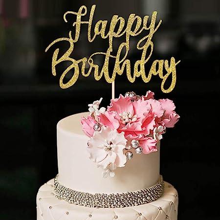 YUINYO Handmade Glitter happy birthday Cake Topper, Happy Birthday Cake Bunting Decor,Birthday Party Decoration Supplies (Gold)