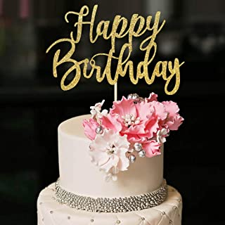 YUINYO Glitter Glitter Handmade Glitter Happy Birthday Cake Topper، تزئین کیک تولدت مبارک