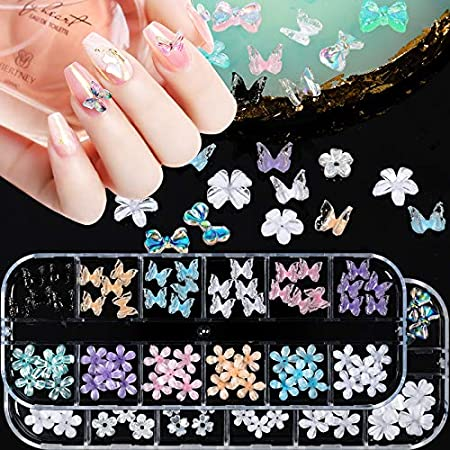 120Pcs 3D Butterfly Nail Charms Flowers 3D Bows Nail Charm Nail Art Designs 2021 Colorful Acrylic Butterflies Flower Nails Charms for Nail Art Accessories DIY Crafting