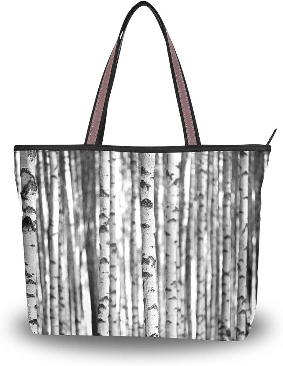 JSTEL Women Large Tote Top Handle Shoulder Bags Birch Tree Patern Ladies Handbag