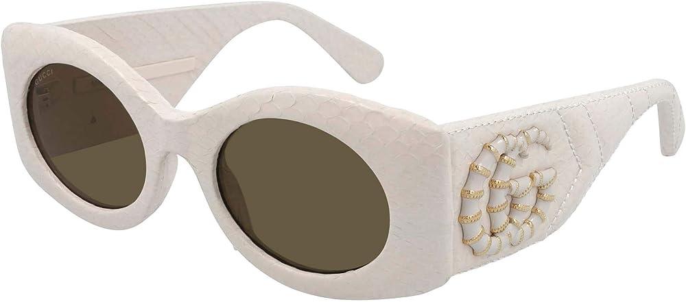 Gucci, occhiali da sole da donna, in acetatto e pelle, colore BIANCO avorio GG0815S