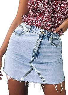 Angelegant Jean Skirt Women's High Waisted Fringed Slim Fit Elastic Bodycon Mini Denim Skirt