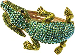 Fashion Jewelry ~ Crystal Metal Alligator Hinge Bangle Bracelet (Green)