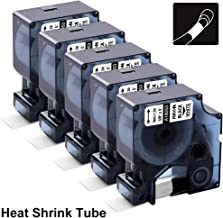 18053 Rhino Heat Shrink Tube Work with Dymo Rhino 5200 4200 6000 5000 Industrial Label Maker and LabelWriter, Black on White, 3/8 Inch(9mm) x 4.9 Feet, 5-Pack