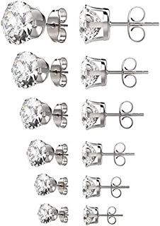 6 Pairs Set 3-8mm Hypoallergenic Surgical Stainless Steel Round Clear Cubic Zirconia Ear Stud Earrings for Women Girls