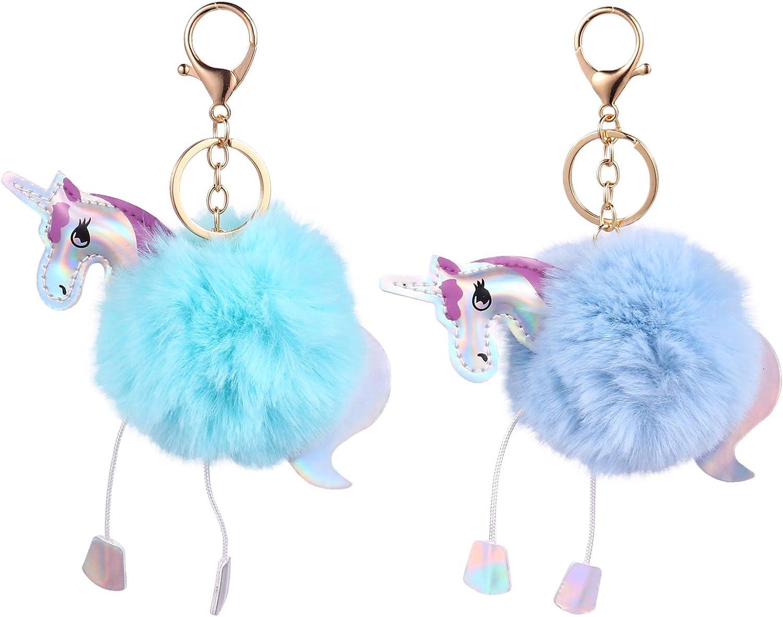 Amosfun 2pcs Unicorn Pom Pom Keychain Cute Unicorn Animal Fluffy Keyring Kids for Car Purse Backpack Handbag (Sky Blue, Aquamarine)