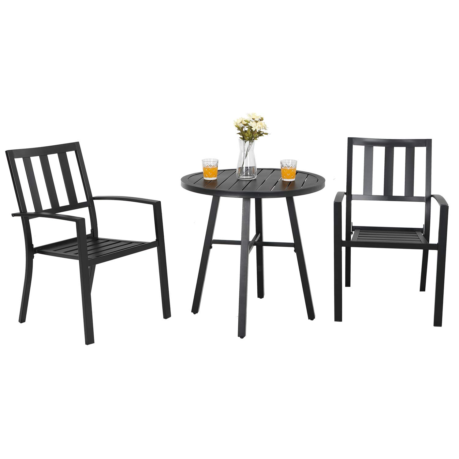 PHIVILLA Metal Patio Bistro Set 8 Piece Outdoor Table and Chairs Set with  8-Inch Steel Top Table