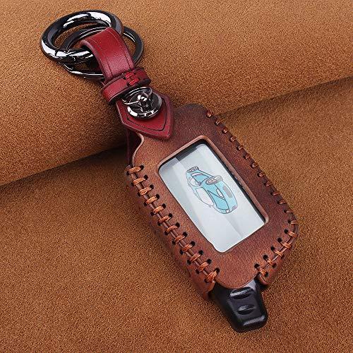 YANJHJY Car Styling Leder Schlüsselhülle Gehäusehalter, Geeignet für Fahrzeugsicherheit Zweiwege-Autoalarmanlage Tomahawk X5 Schlüsselbund