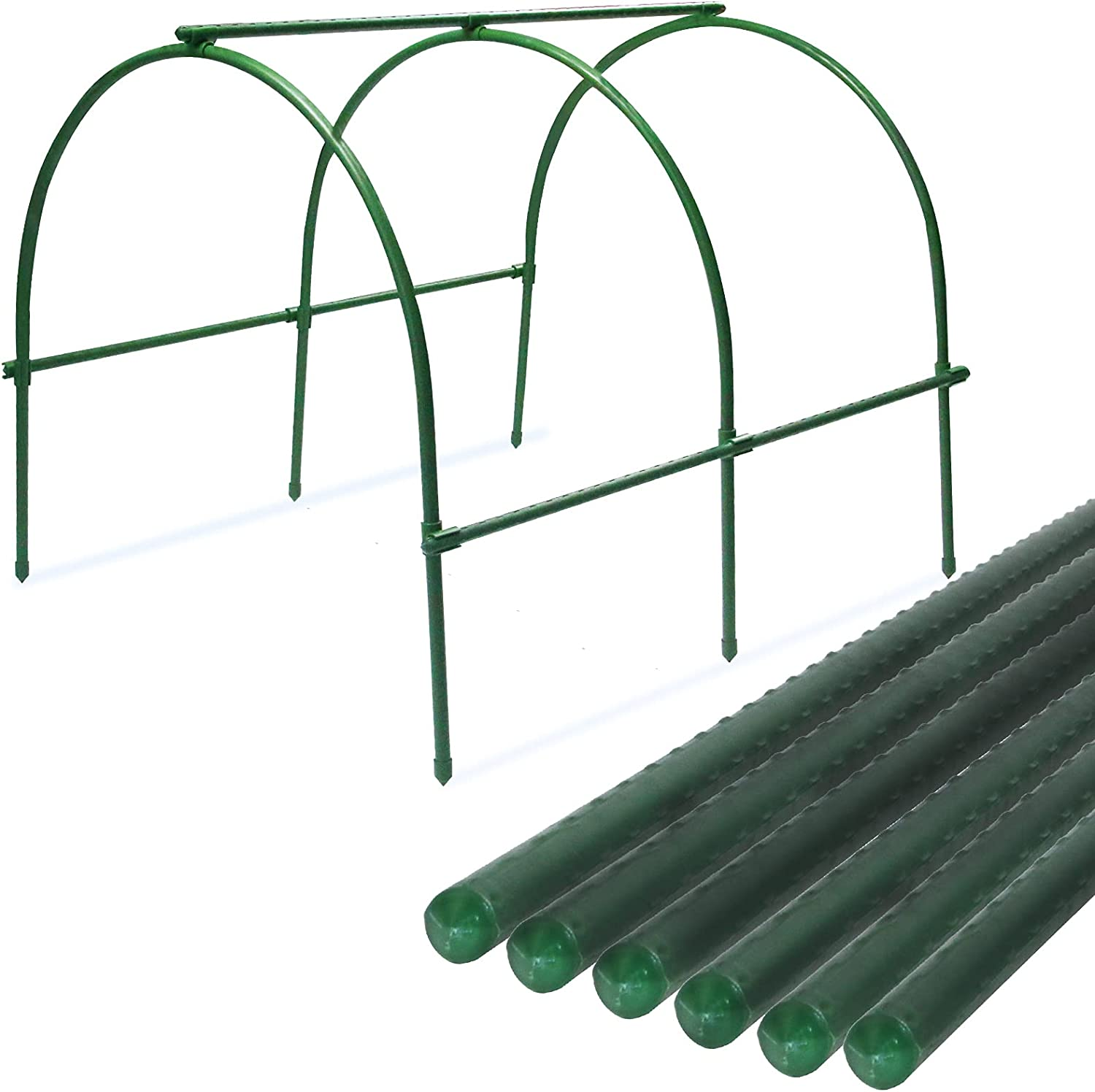 Greenhouse Hoops Rust for Plant Cover Support, Tunnel Hot House Plant Supports for Garden Fabric Stakes, Garden Hoops for Row Cover Growing Frame with Plastic Coated (11mm, 6 Pack)