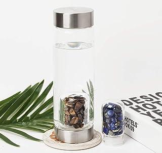 AMOYSTONE Crystal Water Bottles Glass with Two-Mouth Drinking Bottle Gemstone Quartz Bottles 16oz