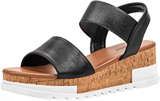 Women's Open Toe Elastic Strap Cork Platform Casual Summer Wedge Sandals