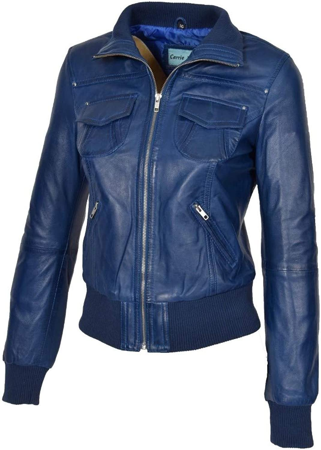 Dillo Leather Motorcycle Bomber Biker Royal bluee Real Leather Jacket for Women