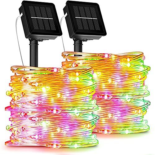 [2 Stück] Solar Lichterkette Aussen, Ruyilam 12M 120LED Lichterkette oudoor wasserdicht IP67 PVC-Draht Dekoration Beleuchtung für draußen, Balkon,...