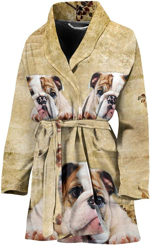 Deruj Bulldog Print Women's Bath Robe