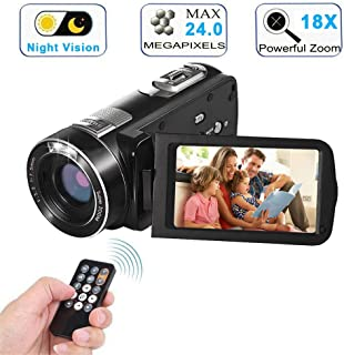 Video Camera Camcorder with IR Night Vision, WEILIANTE 18X Digital Zoom 24.0Mega Pixels Full