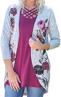UOKNICE Womens Blouses, 3/4 Sleeves Casual Flower Print Winter Warm Polyester Loose Soft Cover Smock Coat Tops