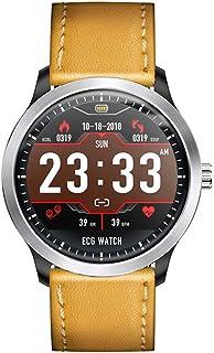 AIFB Pulsómetros Smartwatch, Pantalla a Color Podómetro de Paso Monitor de sueño Impermeable Notificaciones Inteligentes Fitness Tracker Bluetooth para Android iOS Phone, Brown Leather-OneSize