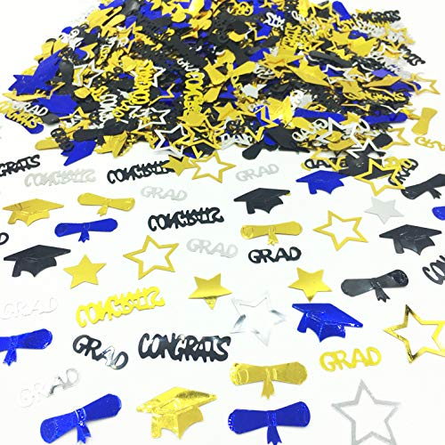 Graduation Decoration Confetti for Grad Party 1.1 oz-Congrats, Grad, Star, Graduation Cap, Diploma Gold, Black, Silver,Blue Mix Color
