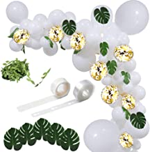 Balloon Arch Garland Kit 100 pcs White Latex Balloons Gold Confetti Balloons 12pcs Green Palm Leaves Artificial Vines Decorating Strip Pack for Wedding, Baby Shower, Birthday Party Backdrop Decoration