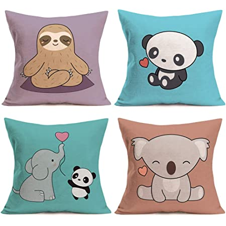 Fukeen Children Cartoon Decorative Throw Pillow Covers Set of 4 Cute Animals Sloth Bear Elephant Panda with Pink Sweet Heart Pillow Cases Cotton Linen 18x18 Inch Cushion Cover for Kids Room Sofa Couch