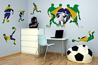 Sports Silhouttes Soccer Brazil With Extras - Large Vinyl Peel and Stick Wall Decal Set