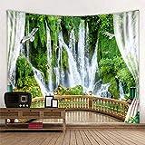 WERT Tapiz Hermoso Bosque Cascada Colgante Paisaje HD Toalla de Playa Tienda Natural Mural Decoración Familiar Tapiz A4 130x150cm