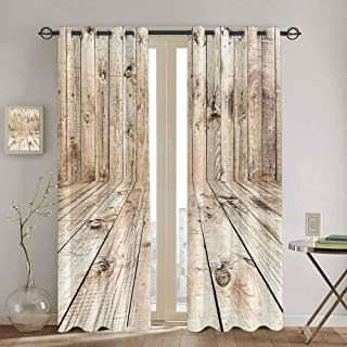 Homrkey Beige Decor Collection Shading Insulated Curtain Picture of an Empty Wooden Old Fashioned Room Timber Folk Style Classic Nature Chic Art Funny Curtain W100 x L84 Inch Light Brown