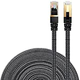 LANケーブル CAT7準拠 [Danyee®一年間保証] インターネットケーブル 結束マジックテープ付き 長さ1M 3M 5M 8M 10M 20M (15M, ブラック)