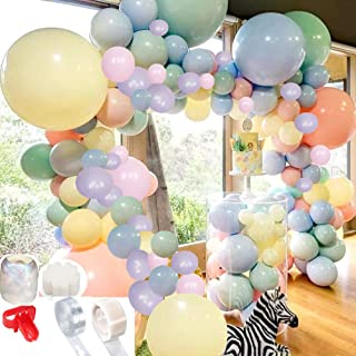 Pastel Balloons Arch Garland Kit 100 Assorted Macaron Candy Colored Latex Balloons Decorating kit:16ft Balloon Strip Tape, a Tying Tool, 100 Dot Glue, 20pcs Flower Clip for Party Festval Event