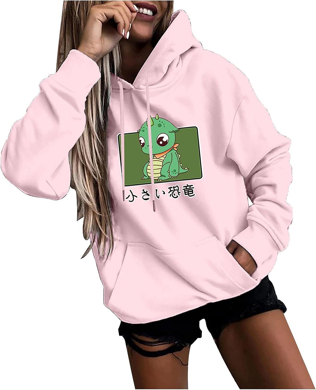 Hoodies for Women Long Sleeve Casual Sweatshirt Fleece Cartoon Print Drawstring Hoodie Autumn Pullover Tops