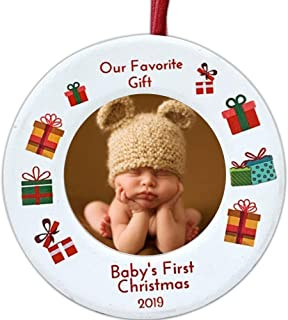BANBERRY DESIGNS 2019 Dated Baby's First Christmas Ornament - Babies Picture Frame Holiday Ornament for Baby - New Baby Gifts for a Boy or Girl