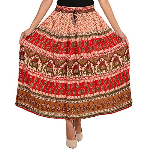 SHREE RAM IMPEX Women's Jaipuri Vintage Rayon Skirt Ankle Length 36 Inches (Multicolored)