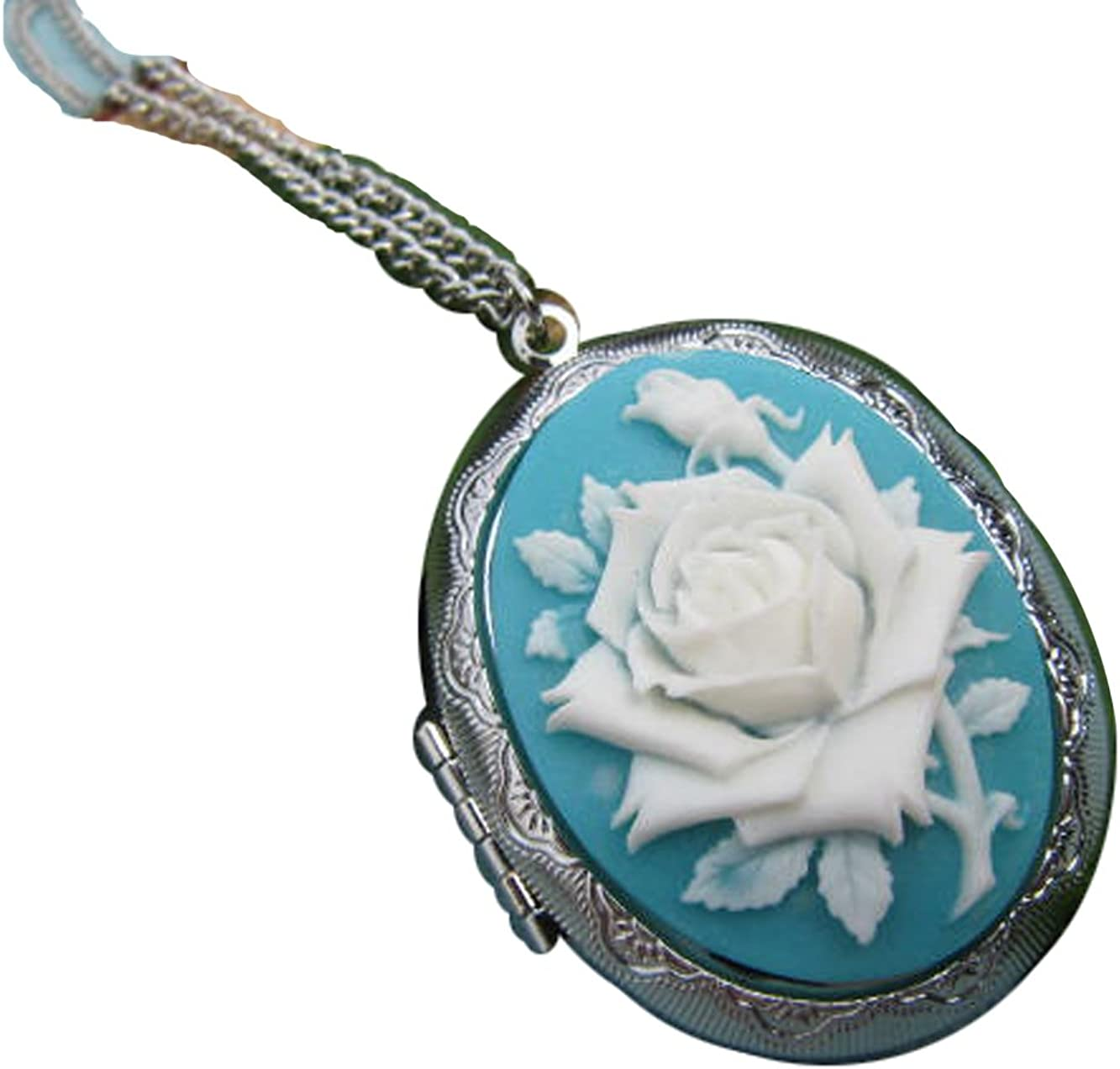 Silver Rose Cameo Locket Necklace Vintage Ranking TOP16 An Inspired Long Manufacturer direct delivery Chain