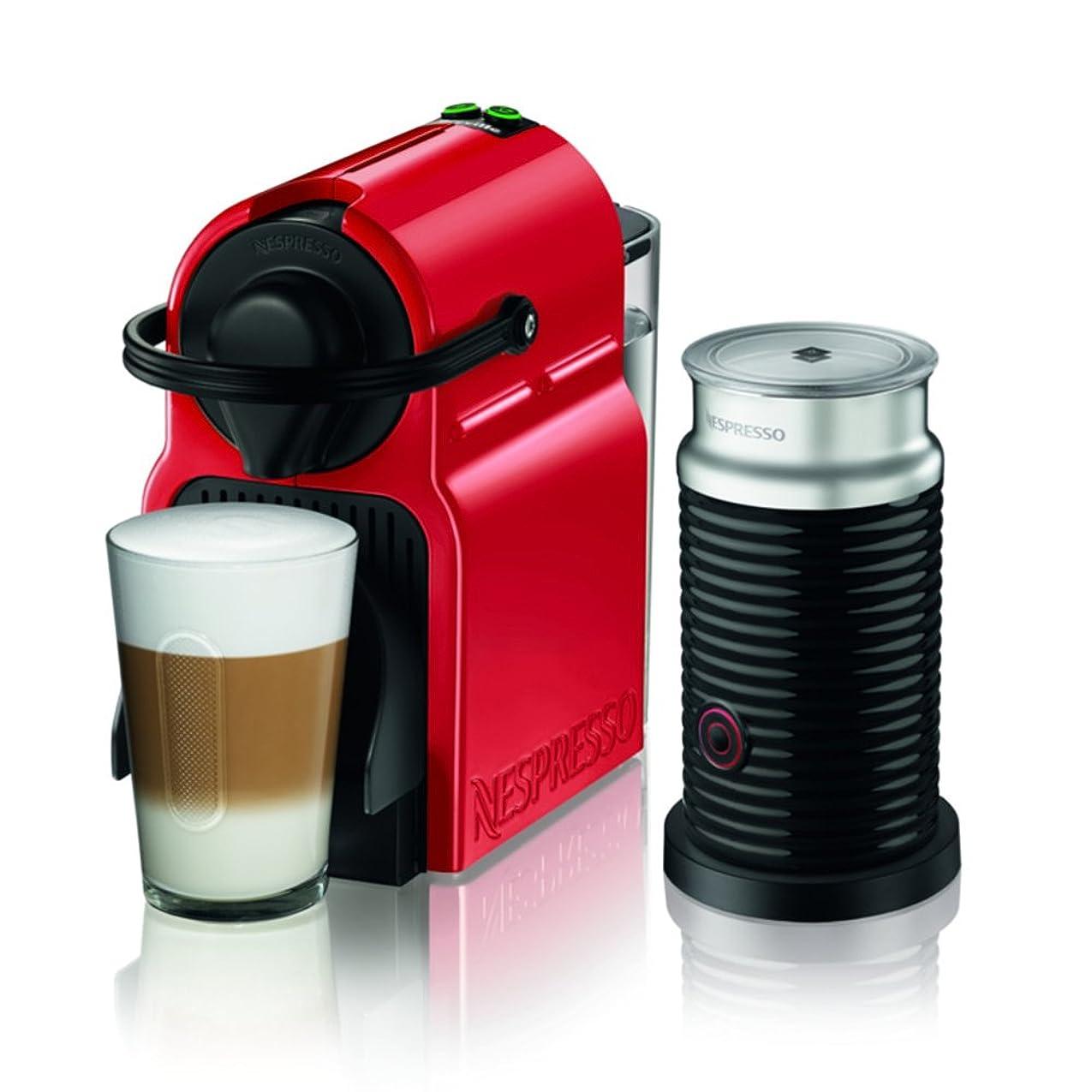 数学的な放射するテナントネスプレッソ コーヒーメーカー イニッシア エアロチーノセット ルビーレッド C40RE-A3B