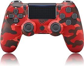 Corofis Controlador Ps-4 inalámbrico, color rojo Camo Dual Vibración Gamepad Joystick, compatible con Playstation 4/Pro/Slim Console, con cable de carga (1000 mAh)