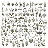 100g (About 100pcs) Craft Supplies Small Antique Silver Charms Pendants for Crafting Jewelry