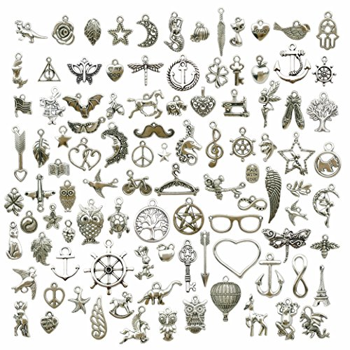 100g (About 100pcs) Craft Supplies Small Antique Silver Charms Pendants for Crafting, Jewelry Findings Making Accessory for DIY Necklace Bracelet (M097)