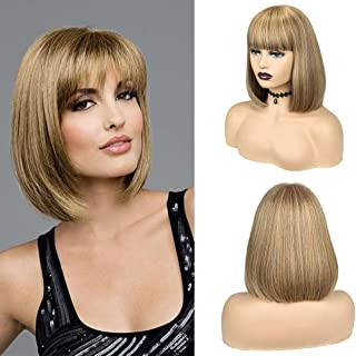 HANNE Short Straight Hair Bob Synthetic Wigs With Free Bangs for Black and White Women Mixed Brown Color None Lace Glueles...