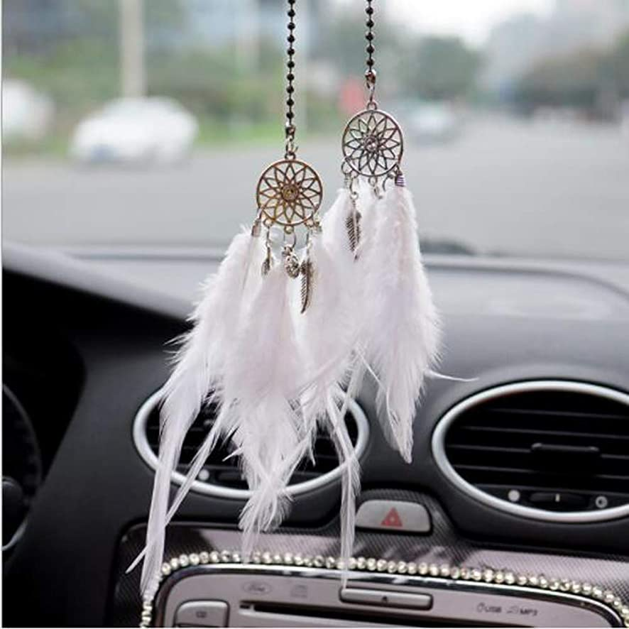 Carmen Car Dream Catchers Rearview Mirror Interior Decoration Hanging Pendant Ornaments Girls Women Ladies Jewelry Best Gift (White)