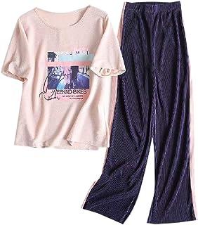 VITryst レディースワイド脚ツーピース夏コンフォートパンツとシャツセット
