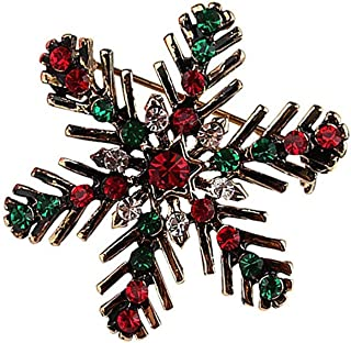 Christmas Wreath Snowflake CZ Brooches for Women Girls Gold Tone Vintage Fashion Colorful Austrian Crystal Red Rhinestones...