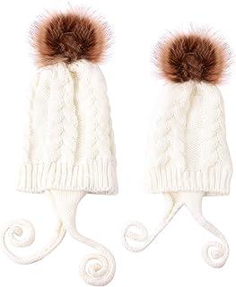 Haokaini, Conjunto de Sombreros para mamá y bebé Gorro de Invierno cálido de Punto para Padres e Hijos Kits de Sombreros para bebés con Pompones para bebés y niñas